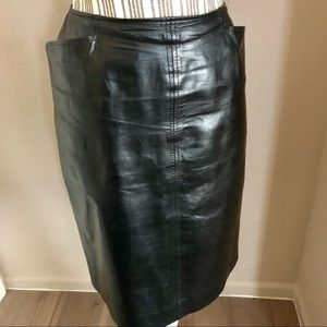 LEATHER PENCIL SKIRT LINDA ALLARD ELLEN TRACY
